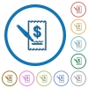 Signing Dollar cheque icons with shadows and outlines - Signing Dollar cheque flat color vector icons with shadows in round outlines on white background