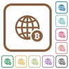 Online Bitcoin payment simple icons - Online Bitcoin payment simple icons in color rounded square frames on white background