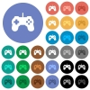 Game controller round flat multi colored icons - Game controller multi colored flat icons on round backgrounds. Included white, light and dark icon variations for hover and active status effects, and bonus shades on black backgounds.