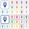 Gift shop GPS map location outlined flat color icons - Gift shop GPS map location color flat icons in rounded square frames. Thin and thick versions included.