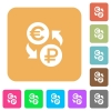 Euro Ruble money exchange rounded square flat icons - Euro Ruble money exchange flat icons on rounded square vivid color backgrounds.