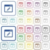 Application edit outlined flat color icons - Application edit color flat icons in rounded square frames. Thin and thick versions included.