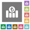 Turkish Lira financial graph square flat icons - Turkish Lira financial graph flat icons on simple color square backgrounds