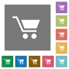 Empty shopping cart square flat icons - Empty shopping cart flat icons on simple color square backgrounds