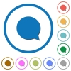 Chat icons with shadows and outlines - Chat flat color vector icons with shadows in round outlines on white background