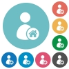 User home flat round icons - User home flat white icons on round color backgrounds