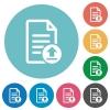 Upload document flat round icons - Upload document flat white icons on round color backgrounds