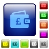 Pound wallet color square buttons - Pound wallet icons in rounded square color glossy button set