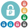 Locked Rubles flat round icons - Locked Rubles flat white icons on round color backgrounds
