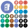 Ink cartridge round flat multi colored icons - Ink cartridge multi colored flat icons on round backgrounds. Included white, light and dark icon variations for hover and active status effects, and bonus shades on black backgounds.
