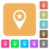 POI GPS map location rounded square flat icons - POI GPS map location flat icons on rounded square vivid color backgrounds.