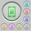 Smartphone memory card push buttons - Smartphone memory card color icons on sunk push buttons