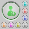 Upload user account push buttons - Upload user account color icons on sunk push buttons