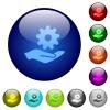 Maintenance service color glass buttons - Maintenance service icons on round color glass buttons
