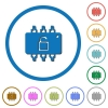 Hardware unlocked icons with shadows and outlines - Hardware unlocked flat color vector icons with shadows in round outlines on white background