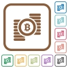 Bitcoins simple icons - Bitcoins simple icons in color rounded square frames on white background
