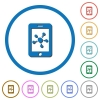 Mobile social network icons with shadows and outlines - Mobile social network flat color vector icons with shadows in round outlines on white background