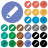 Pencil round flat multi colored icons - Pencil multi colored flat icons on round backgrounds. Included white, light and dark icon variations for hover and active status effects, and bonus shades on black backgounds.