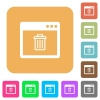 Application delete rounded square flat icons - Application delete flat icons on rounded square vivid color backgrounds.