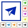 Paper plane flat framed icons - Paper plane flat color icons in square frames on white background