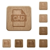 CAD file format wooden buttons - CAD file format on rounded square carved wooden button styles