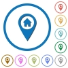 Home address GPS map location icons with shadows and outlines - Home address GPS map location flat color vector icons with shadows in round outlines on white background