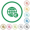 Online Euro payment flat icons with outlines - Online Euro payment flat color icons in round outlines on white background