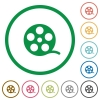 Movie roll flat icons with outlines - Movie roll flat color icons in round outlines on white background