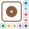 Circular saw simple icons - Circular saw simple icons in color rounded square frames on white background