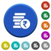Indian Rupee coins beveled buttons - Indian Rupee coins round color beveled buttons with smooth surfaces and flat white icons
