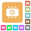 Hardware disabled rounded square flat icons - Hardware disabled flat icons on rounded square vivid color backgrounds.