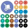 Hand truck round flat multi colored icons - Hand truck multi colored flat icons on round backgrounds. Included white, light and dark icon variations for hover and active status effects, and bonus shades on black backgounds.