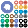 Left facing piggy bank round flat multi colored icons - Left facing piggy bank multi colored flat icons on round backgrounds. Included white, light and dark icon variations for hover and active status effects, and bonus shades on black backgounds.