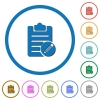 Edit note icons with shadows and outlines - Edit note flat color vector icons with shadows in round outlines on white background