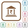 Indian Rupee bank office simple icons - Indian Rupee bank office simple icons in color rounded square frames on white background