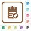 Note tagging simple icons - Note tagging simple icons in color rounded square frames on white background