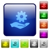 Maintenance service color square buttons - Maintenance service icons in rounded square color glossy button set