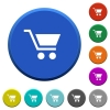 Empty shopping cart beveled buttons - Empty shopping cart round color beveled buttons with smooth surfaces and flat white icons
