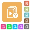 Unknown playlist flat icons on rounded square vivid color backgrounds. - Unknown playlist rounded square flat icons
