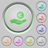Euro earnings push buttons - Euro earnings color icons on sunk push buttons