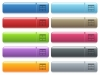 Spreadsheet horizontally merge table cells icons on color glossy, rectangular menu button - Spreadsheet horizontally merge table cells engraved style icons on long, rectangular, glossy color menu buttons. Available copyspaces for menu captions.