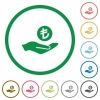 Turkish Lira earnings flat color icons in round outlines on white background - Turkish Lira earnings flat icons with outlines