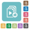 Default playlist rounded square flat icons - Default playlist white flat icons on color rounded square backgrounds