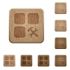 Component tools wooden buttons - Component tools on rounded square carved wooden button styles