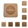 Bonus sticker wooden buttons - Bonus sticker on rounded square carved wooden button styles