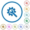 Wrench with cogwheel icons with shadows and outlines - Wrench with cogwheel flat color vector icons with shadows in round outlines on white background