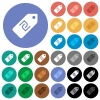 New Shekel price label round flat multi colored icons - New Shekel price label multi colored flat icons on round backgrounds. Included white, light and dark icon variations for hover and active status effects, and bonus shades on black backgounds.