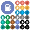 Gas station round flat multi colored icons - Gas station multi colored flat icons on round backgrounds. Included white, light and dark icon variations for hover and active status effects, and bonus shades on black backgounds.