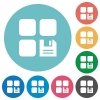 Save component flat round icons - Save component flat white icons on round color backgrounds