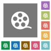 Movie roll square flat icons - Movie roll flat icons on simple color square backgrounds